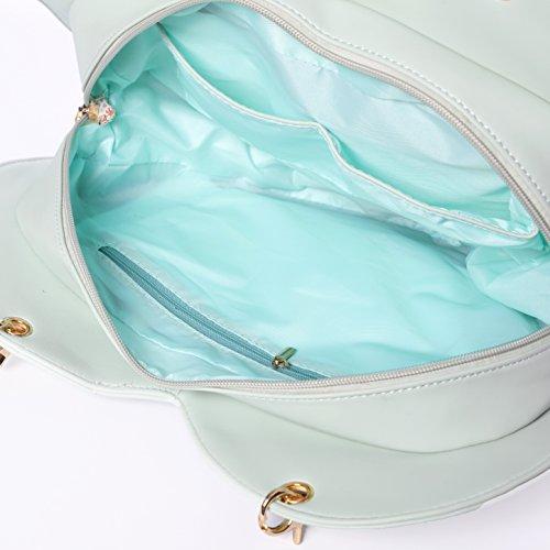 Transparent Love Handbag Bags Bag Clear Backpacks Purse Heart Shape Green Candy Kawaii Ita Lolita Crossbody Leather qawXS0