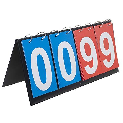 (GOGO 4-Digital Portable Tabletop Score Flipper, Sport Scoreboard, 00-99-Blue & Red Card)