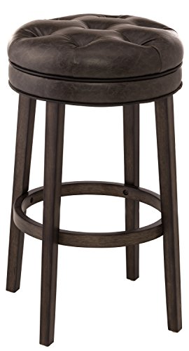 Hillsdale Furniture 5626-826 Hillsdale 5914-833 Krauss Backless Swivel Bar Stool, Charcoal Gray Finish Height, Faux Leather