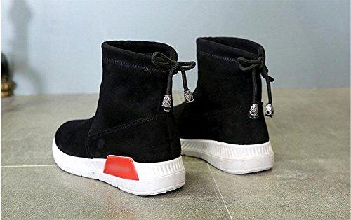 del de algodón después cabeza botas suelta encaje ante mujer zapatos con botas tarta de planas redonda negro KUKI botas de mujer wSZ6B0q