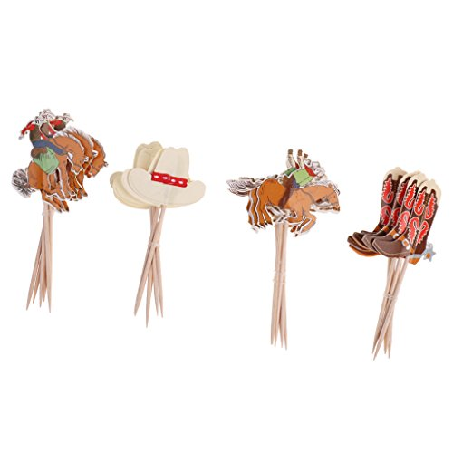 Jili Online Set of 24pcs Cowboy Theme Cupcake Picks Cake Toppers Baby Shower Party (Cowboy Party Theme)