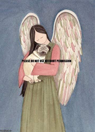 Lynch Pug Dog and Angel Folk Art Print