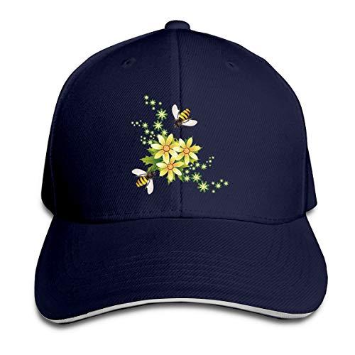 (Kidhome Unisex Adjustable Plain Hat Honeybee Beehive Flower Sporting Baseball Cap Outdoor Snapback)