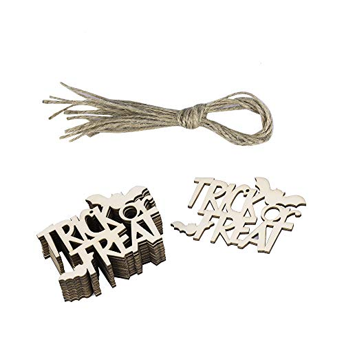 Clearance Sale!DEESEE(TM)10Pcs Halloween Wood Chip Tree Ornaments Hanging Pendant Home Decor Gifts -