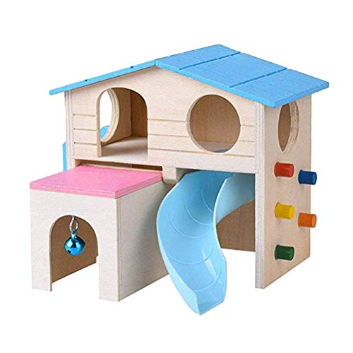 POPETPOP Wooden Hamster House-Hamster Hideout with Funny Climbing Ladder Slide Wooden Hut Chews for Small Animals Like Chinchilla,Dwarf Hamster,Syrian Hamster and Mouse