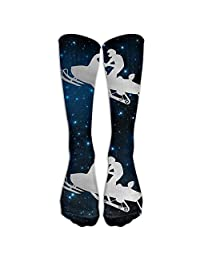 Platinum Snowmobile Motorbike Silhouette Casual Unisex Sock Knee Long High Sport Athletic Crew One Size Long: 19.6inch,50cm one size