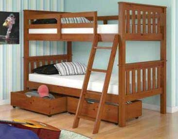 Amazon Com Donco Kids Mission Bunk Bed Light Espresso Twin Twin W