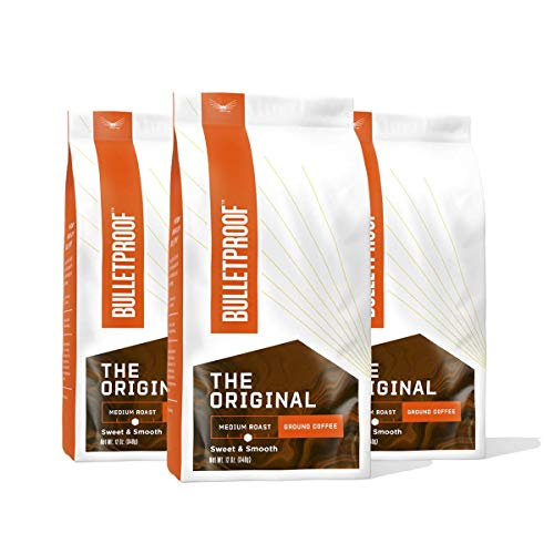 The Original Ground Coffee, Medium Roast, 3 Pack - 12 Oz, Bulletproof Keto Friendly 100% Arabica Coffee, Certified Clean Coffee, Rainforest Alliance, Sourced from Guatemala, Colombia & Brazil