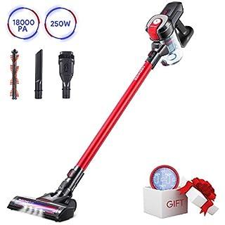 DEENKEE Cordless Vacuum DS100, 6 in 1 Handheld Stick Vacuum Cleaner 18KPa 250W Powerful Cleaning Lightweight Vacuum for Home Hard Floor Carpet Car Pet … (Red Light)