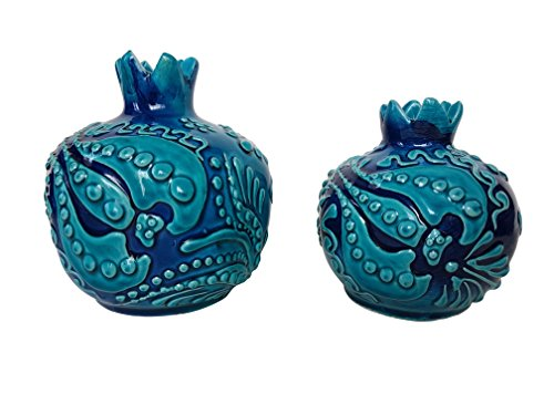 Bead Global Turkish Small Pomegranate Handmade Vases Set of 2 – Table Centerpiece Hand Painted Turquoise Decorative Ceramic Vases Home Accents by Bead Global