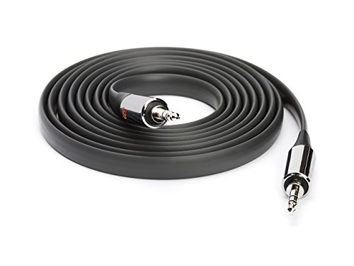 Griffin 6 Ft Flat AUX Cable in Black - Extra Long Auxiliary Cable