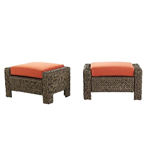 Hampton Bay Laguna Point Brown All-Weather Wicker Outdoor Ottoman with Quarry Red Cushion (2-Pack)