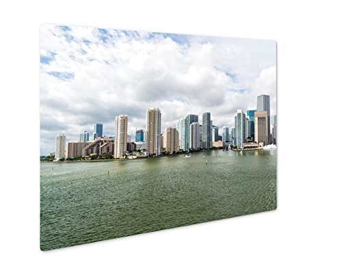 Ashley Giclee Metal Panel Print, Miami Seascape With Skyscrapers In Bayside Downtown, Wall Art Decor, Floating Frame, Ready to Hang 8x10, - Beach Miami Bayside