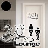 """A003 Tür-/Wandtattoo """"WC Lounge"""" 30cm x 17cm schwarz (in 40 Farben und 4 Größen)"""