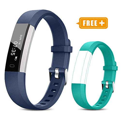 TOOBUR Fitness Activity Tracker Watch for Kids Girls Boys, Pedometer, Calorie Counter, IP67 Waterproof Step Counter Watch with Sleep Monitor and Vibrating Alarm Clock (Blue Green) ()