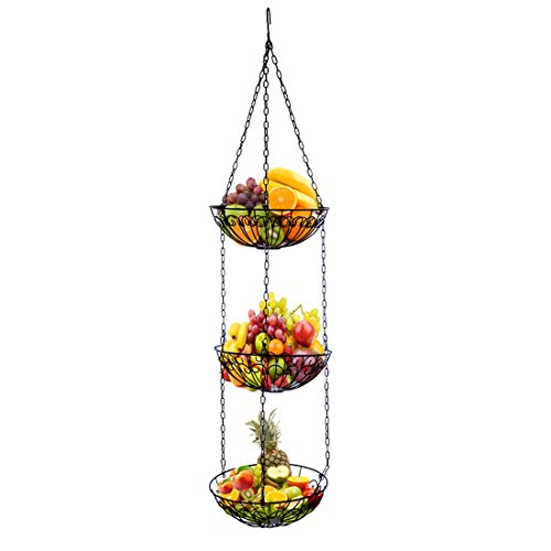 Petforu 3-Tier Kitchen Hanging Baskets Fruit Bowl Vegetable Holder Storage Simple Functional with Chains