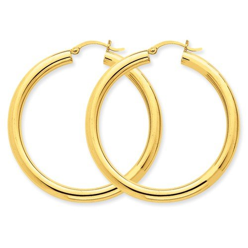 14k Yellow Gold Polished 4mm Lightweight Round Hoop Earrings (1.5IN Long) by Jewelry Pot (Image #2)