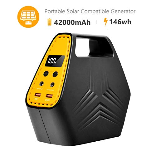 (hornbill Portable Power Station 146WH, Camping Generator 42000mAh,100W Power Supply Solar Generator with Dual 110V AC Outlet, 2 DC Ports, 2 QC3.0 USB Outputs,LED Display for Camping)