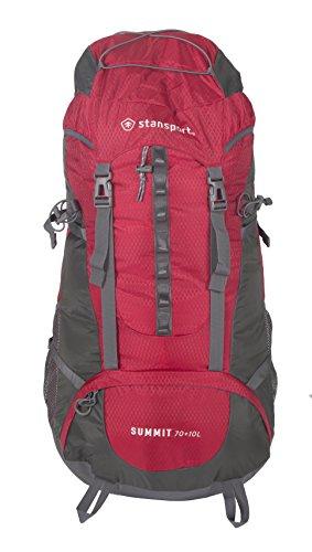Stansport 70+10 L Internal Frame Pack, Red