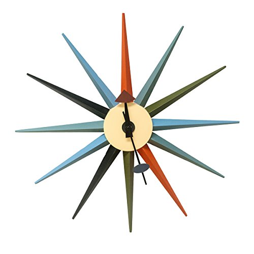 Mod Hecho Mid Century moderno reloj de pared Metal Estrella