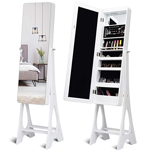 Giantex 15 LED Jewelry Armoire Cabinet with Full Length Mirror, Wooden Bedroom -