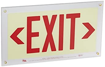 "Safe Glow Photoluminescent Exit Sign, ""EXIT"" with Left and Right Arrows Symbol, 16-29/32"" Length x 9-1/2"" Width x 1/4 "" Height, T-Bar Mount (Pack of 1)"