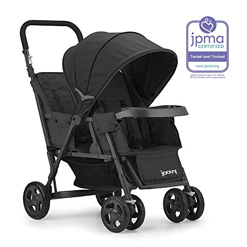 JOOVY Caboose Too Graphite Stand-On Tandem Stroller, Black (Sit And Stand Double Stroller With Car Seat)