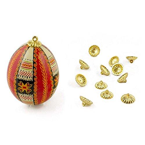 BestPysanky 12 Gold Tone Ornament Caps - Egg Top Findings