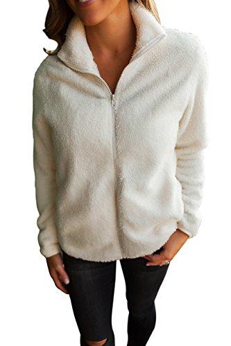 BaronHong Women's Slim Fit Designer Wool Casual alta chaqueta de cuello con cremallera con bolsillos laterales blanco