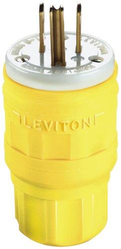 - Leviton 14W47 15 Amp, 125 Volt, Straight Blade, Plug, Industrial Grade, Grounding, Wetguard, Yellow