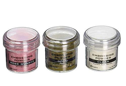(Ranger Embossing Powder Bundle - Set of 3 - Super Fine Clear, Super Fine Gold & Rose Quartz )