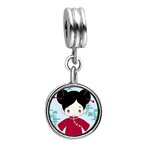 GiftJewelryShop Girl In Costume Light Amethyst Crystal June Birthstone Flower Dangle Charm Bracelets