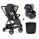 Hauck Apollo Travel System with Infant Car Seat and Base, Lightweight Stroller with Reversible Seat Unit, Boot Cover and Height-Adjustable Handle, Small Folding Stroller