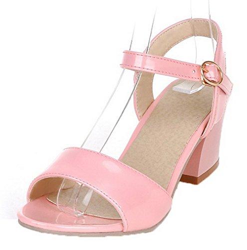 VogueZone009 Women Patent Leather Open-Toe Kitten-Heels Buckle Solid Sandals Pink
