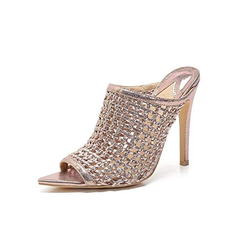 MACKIN J 294-23 Women's Peep Toe Hand Woven Upper High Heel Sandals Open Toe Mule(9, Rose Gold)
