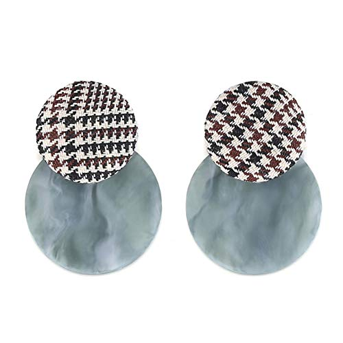 FAMARINE Fabric Plaid Check Earrings Acrylic Resin Round Disc Dangle Earring for Women, 2 Ways to - Plaid Acrylic