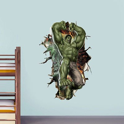 Hulk Peel - 3D Cartoon Super Hero Avengers Hulk Peel and Stick Wall Sticker Kids Room Stickers Cartoon Decals Home Decor Wallpaper Poster