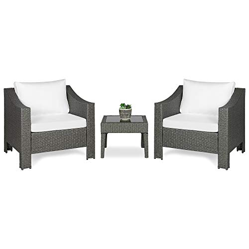 Best Choice Products Set of 2 Outdoor Wicker Club Patio Accent Chairs w/Side Table for Porch, Patio, Poolside - Gray