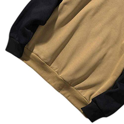 Windy5 Patchwork Hommes O Sweat Sweat shirt Hooides Hiver Neck Petits Garçons Kaki Automne Top qwUBxrqX