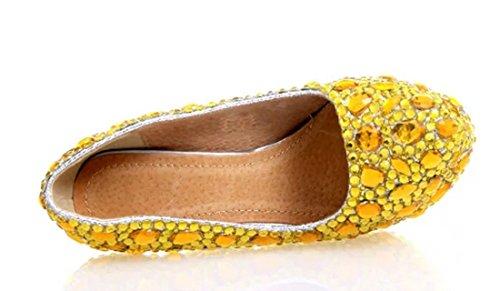 Gorgeous Party Dress Women's Rhinestones Stiletto Pumps Gold 14cm Wedding Heel TDA q6I5Z