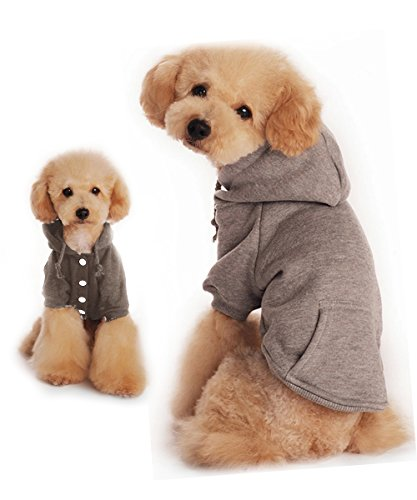 Dog Hoodie, Hkim Soft Cotton Pet Poodle Clothes with Pocket Fashion Fleece Sweater Puppy Sweatshirt for Maltese, Shitzu, Small Dogs (M, Gray)
