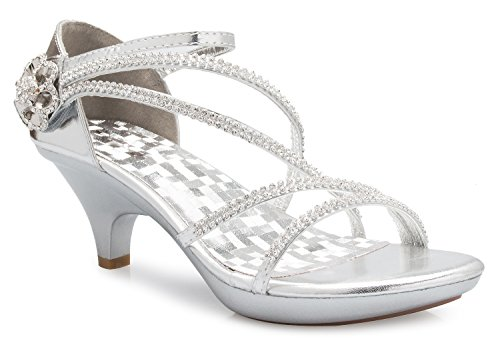 OLIVIA K Women's Open Toe Strappy Rhinestone Dress Sandal Low Heel Wedding Shoes Silver ()