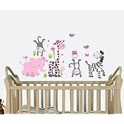 Pink Gray, Safari Animal Decals, Baby Girl Jungle Stickers, Pink Decal, Girls Nursery