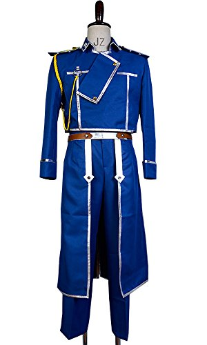 Ya-cos Fullmetal Alchemist Colonel Roy Mustang Military Uniform Cosplay Costume Outfit