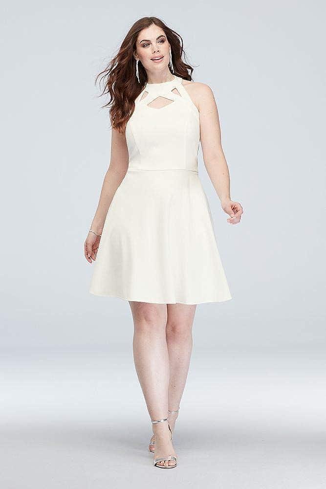 David\'s Bridal High-Neck Cutout Scuba Crepe Plus Size Dress ...