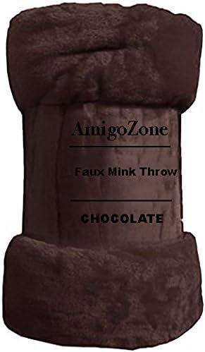 Single 127 x 152cm AmigoZone Faux Fur Mink Blanket Sofa Bed Throw Single Double /& King Size Mink Fur Throw , Black