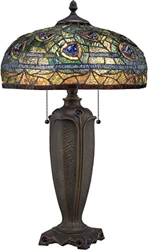 Quoizel TF1487T Lynch Tiffany Table Lamp, 2-Light, 150 Watts, Bronze 26 H x 16 W