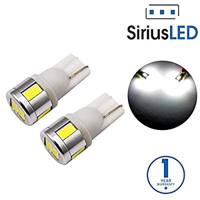 SiriusLED Extremely Bright 5730 Chipset LED Bulbs for Car Interior Lights License Plate Dome Map Side Marker Door Courtesy Wedge T10 168 192 194 2825 W5W 6000K Xenon White Pack of 2