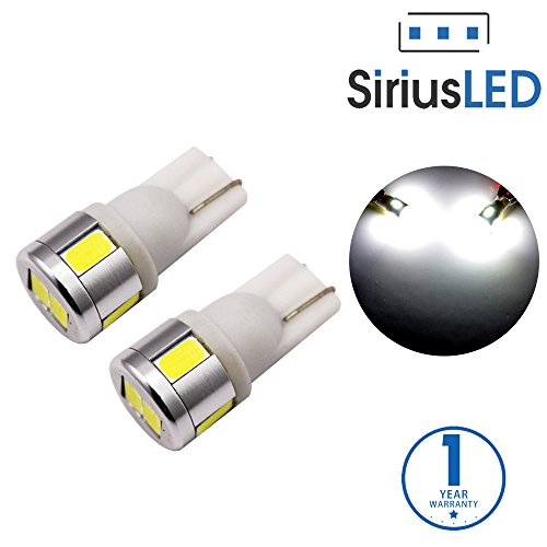 SiriusLED Extremely Bright 5730 Chipset LED Bulbs for Car Interior Lights License Plate Dome Map Side Marker Door Courtesy Wedge T10 168 192 194 2825 W5W 6000K Xenon White Pack of 2 - Accent Cs 5 Piece