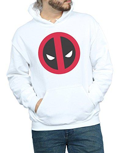 bianca Deadpool Large Felpa Logo Clean Man con cappuccio Marvel xRR8qH